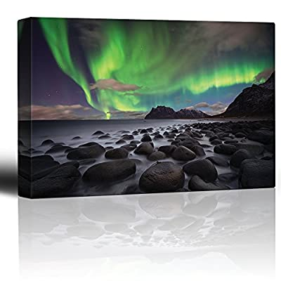 Original Creation, Stunning Visual, Green Northern Lights Over an Ocean Filled with Rocks