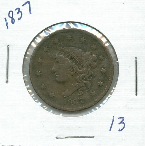 1837 Coronet Large Cent in 2x2 coin