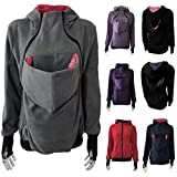 Womens Maternity Kangaroo Hooded Sweatshirt Coats Tops with Front Pouch for Baby Carriers