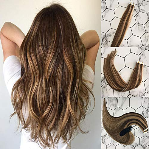 Vowinlle 20inch Tape in Remy Human Hair Extensions Chocolate Brown #4 Highlight with Caramel Blonde #27 Natural Human Hair Extensions Tape in 20PCS 40G (Images Of Light Brown Hair With Caramel Highlights)