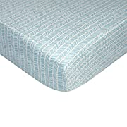 Lolli Living 100% Cotton Crib Fitted Sheet (Woods Collection). Aqua Herringbone Pattern Ultra-Soft Fitted Sheet for Standard Cribs