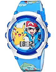 Pokémon Kids' Watch with Flashing LED Lights - Kids Digital Watch with Official Pokémon Characters on the Dial, Childrens Watch with Easy Buckle Strap, Kids Digital Watch, Safe for Children