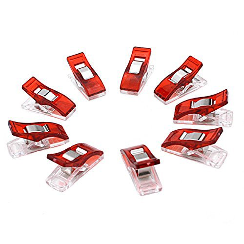 GLE2016 Sewing clips, Paper Clips, Blinder Clips, Multi-purpose Clips, 100pcs, Red