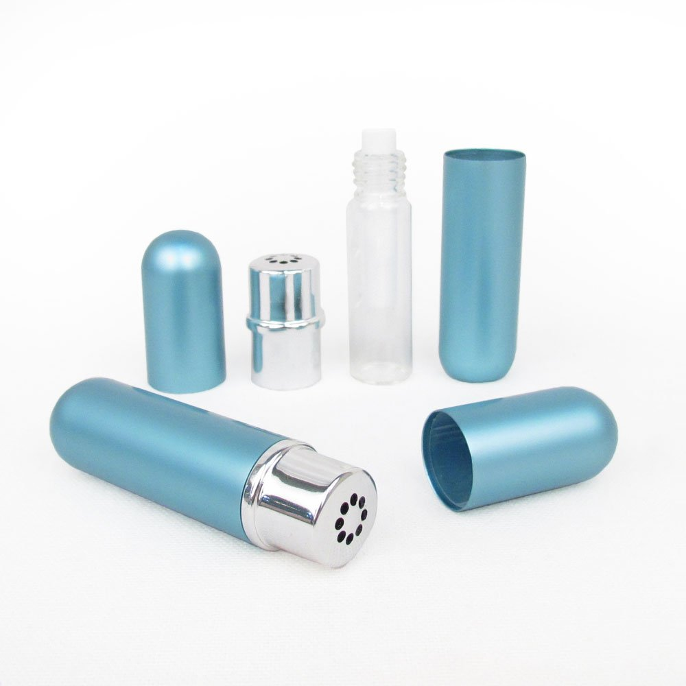 Robin Blue Empty Essential Oil Personal Inhaler Refillable Aluminum and Glass With Removable Bottle by Rivertree Life