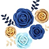 Cheap Fonder Mols 3D Paper Flowers Decorations (Blue Gold, Set of 5) for Boy Birthday Party, Baby Boy Shower, Nursery Room Decor, Photobooth Backdrop(NO DIY)