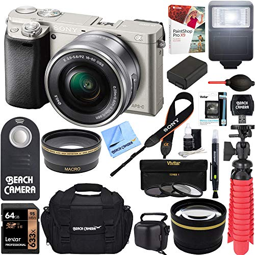 Sony Alpha a6000 Silver Interchangeable Lens Camera 16-50mm Power Lens + 64GB Card + DSLR Photo Bag + Extra Battery + Wide Angle Lens + 2X Telephoto Lens + Flash + Remote + Tripod