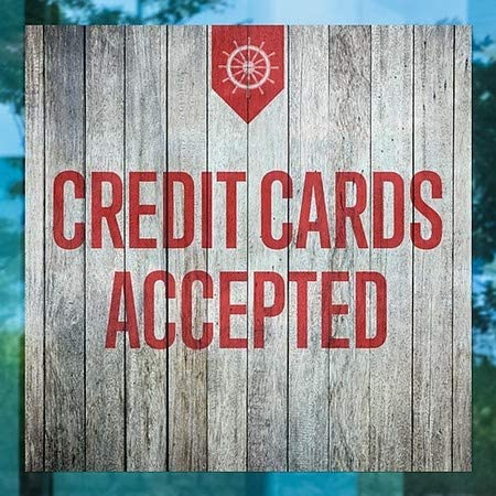 CGSignLab 24x24 Credit Cards Accepted 5-Pack Nautical Wood Window Cling