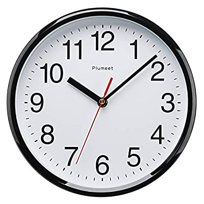 """Plumeet Silent Wall Clock, 10"""" Non Ticking Quality Quartz Black Wall Clock Decorative Home, Kitchen, Office, School Clock, Easy to Read, Battery Operated"""