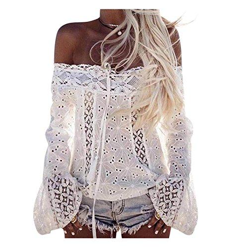 lisingtool-womens-off-shoulder-stripe-casual-blouse-shirt-tops-m-white-lace