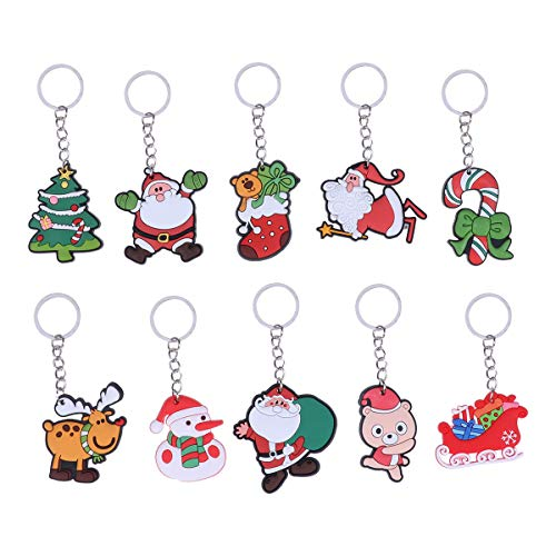 Amazon.com: Amosfun 10pcs Keyring Keychain Christmas Car ...
