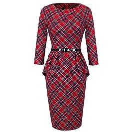 HOMEYEE® Women's Elegant Checks Peplum Belted Bodycon Dress UKB267