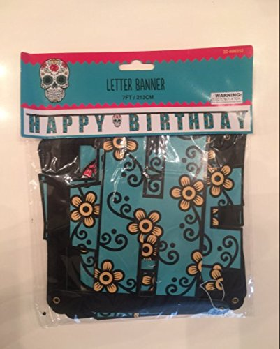 DIA DE LOS MUERTOS SUGAR SKULL HAPPY BIRTHDAY BANNER PARTY DECORATIONS ()