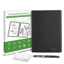 WOBEECO Resuable Smart Notebook Cloud Storage Heat Wet Erasable Wirebound Notebook with Erasable Pens