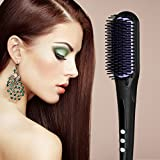 Hair Brush Straightener, [New Arrival]Euph Professional Anion Ceramic Instant Detangling Brush, Built-in Double Anion Launching Rapid Heating Technology Anti Scald Nano Brush (Black)