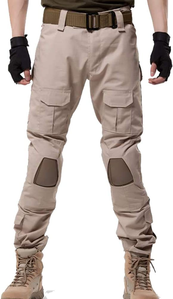 GooDoi Military Ripstop Trousers Cargo Cotton Mens Combat Cargo Trousers Pants with FREE KNEE PADS for Camping Hiking Walking