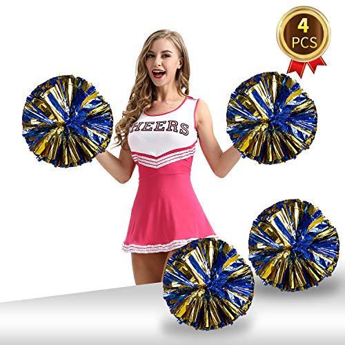 Pack of 4 Cheerleading Pom Poms Foil Plastic Metallic Cheerleader Pom Poms for Cheer Sport Kids Adults Team Spirit Cheering ()