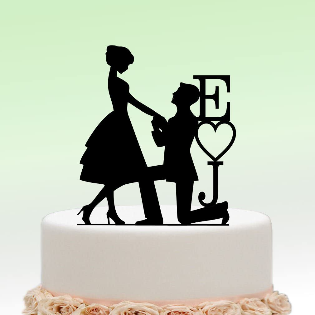 Bride and Groom  with Personlized Initials Custom Wedding Cake Topper