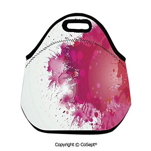 Neoprene Lunch Tote Bag Washable Lunchbox Bag,Artistic Display with Pink Watercolor Splashes Paint Splatters Fluid Brush Decorative,for Women Men Kids Boys Girls(11.81x6.29x11.02 inch )Pink Hot Pink R