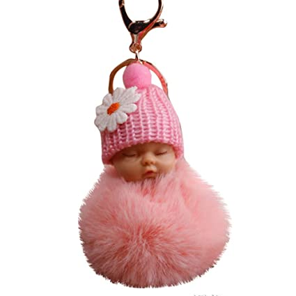 Gbell Cute Soft Plush Baby Girl Toy,Mini Bowtie Ball Fluffy Keychain for  Toddler Teen Girls Schoolbag Charm Pendant Decoration Gift,8CM,Asssorted