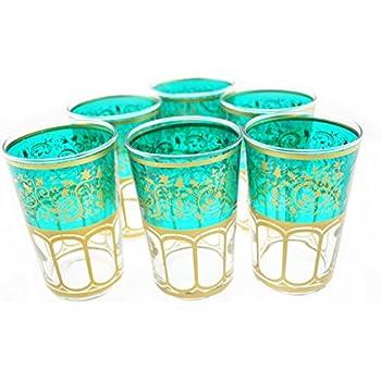 Moroccan Meknes Tea Glasses Set of 6 (Turquoise)
