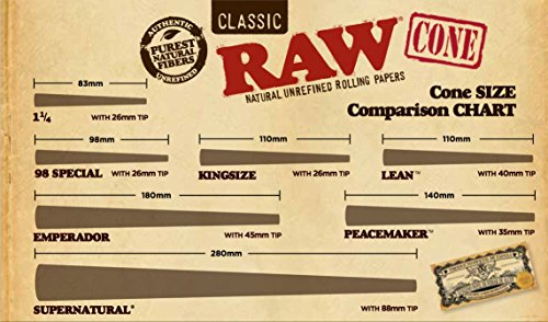 Raw Organic Unrefined Pre Rolled Cone 32 Pack King Size