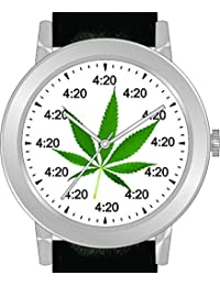 """4:20"" Is the Time At Every Hour on the Colorful Green Emblem Dial of the Large Polished Chrome Watch with Black Band"