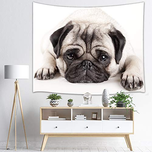 KOTOM Dog Lover Tapestry Wall Hanging Art, Animals Decor Pug Puppy Lying Down, Wall Blanket Beach Towels Home Decor for Bedroom Living Room Dorm, 60X40 Inches]()