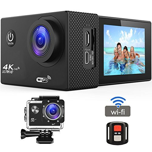 Action Camera 4K 16MP Sports Cam - BUIEJDOG HD WiFi Waterproof Action Camcorder with 170°Wide Angle Lens 2 Rechargeable Batteries Remote Control and 18 Mounting Accessories (Sports Cam)