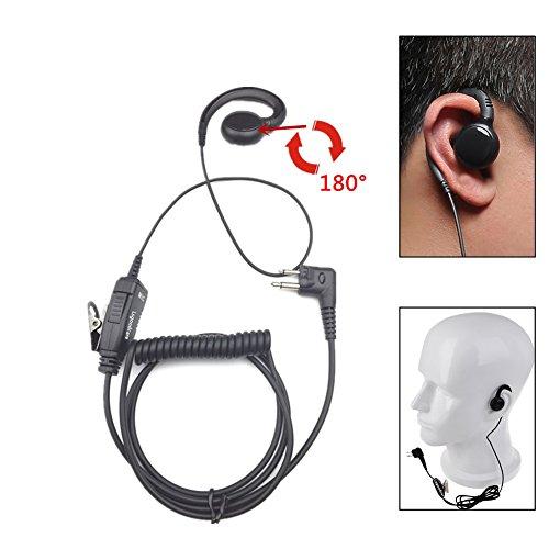 (Swivel Earpiece for Motorola Radio, Lsgoodcare Earhanger Earhook Headset with 180 Degree Swivel Earphone (PTT and Mic) for Motorola CLS1410 CP200 CP88 CP100 CP040 Walkie Talkie Two Way Radio 2 Pin)