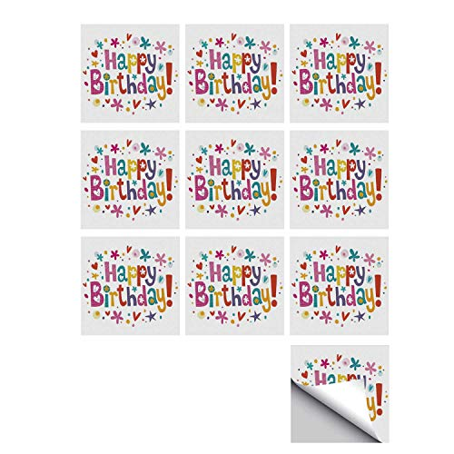 (C COABALLA Birthday Decorations Stylish Ceramic Tile Stickers 10 Pieces,Natural Garden Themed Design with Daisies Cheerful Mood Hearts Stars for Kitchen Living Room,5