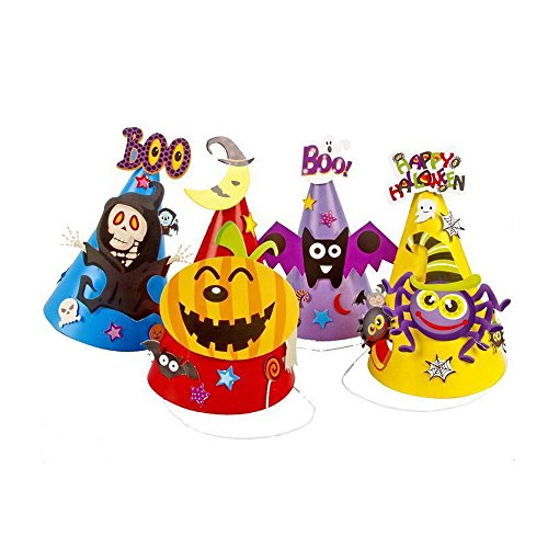 4 pcs Halloween Party DIY Paper Cartoon Hat, Hat Witches, spiders, pumpkins, decorations, Party props for Kids