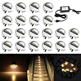 QACA 20 Pack LED Stair Lights Kit Low Voltage Waterproof IP65 Outdoor 1-2/5'' Recessed Wood LED Deck Lighting Yard Garden Patio Step Landscape Pathway Decor Lamps, Warm White