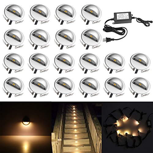 QACA 20 Pack LED Stair Lights Kit Low Voltage Waterproof IP65 Outdoor 1 2/