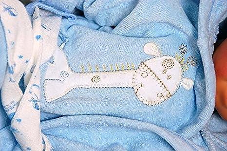 Baby erstausstattung Juego: Albornoz Toalla con Capucha Guantes Cinturón Biberon con Animales Bordados Jirafa de 100% algodón I Poncho de baño Chica Joven ...
