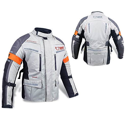 Jet Motorcycle Motorbike Jacket Mens Summer Armoured Scooter Moped Ultra Lightweight Ventilation ESSENTIALS Grey//Orange, S