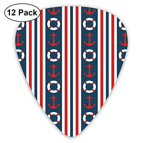 - Guitar Picks 12-Pack,Vertical Borders Stripes Maritime Theme Steering Wheel And Anchor Pattern
