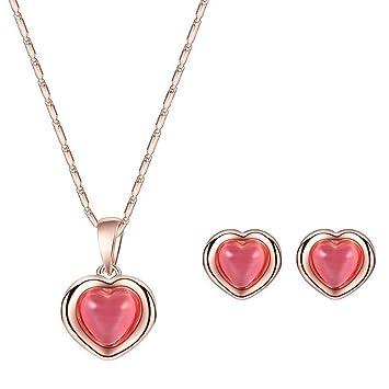 74bc30f3e4bb Scrox Collar Pendientes Diamante Gotas de Agua Elegante Joyas Mujer Conjunto  de Cristal Colgante Collar + Pendientes (Rosa roja)  Amazon.es  Hogar