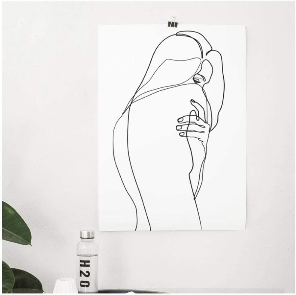 Amazon Com Igzaker Abstract Woman Body Wall Art Canvas Posters Prints Female Bare Single Line Art Drawing Painting Black White Picture Home Decor 50x70cm No Frame Posters Prints