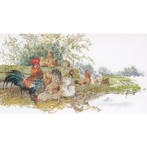 Thea Gouverneur 16 Count Counted Cross Stitch Kit, 26-3/4 by 14-1/2-Inch, Chickens on ()