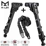 Gogoku Bipod & Sling Combo for Mlok Rail Tactical Outdoor Hunting 7.5-9 Inches Bipod (Color: Mlok Bipod+Sling)