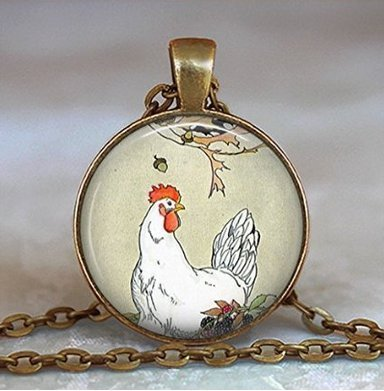Henny Penny and Tale of Chicken Little Story Book Pendant, Chicken Jewelry, Chicken Necklace, Chicken Lover's Gift