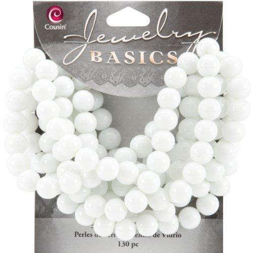 Cousin Jewelry Basics 130-Piece 8mm Round Bead, White - Basic Glass Beads