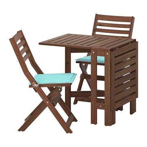 APPLARO エップラロー テーブル+折りたたみチェア2 屋外用, ブラウンステイン ネーストーン, ターコイズ ベージュ 892.516.98 B07DYL9HXF
