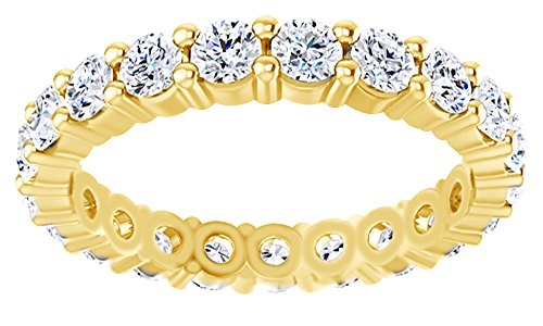 AFFY Round Cut White Moissanite Eternity Band Ring In 14K Solid Yellow Gold, Ring (Solid Gold Moissanite Ring)