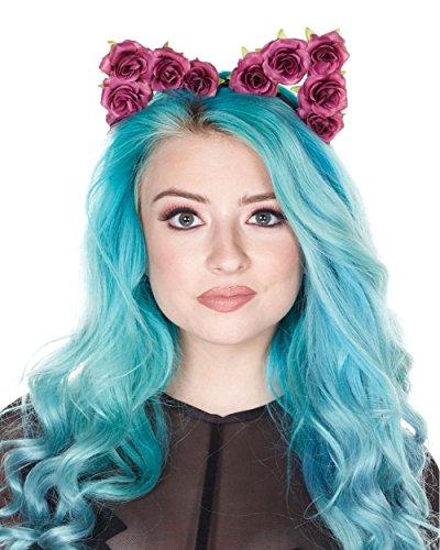 iHeartRaves Rose Cat Ears Costume Headband (Violet) - Flower Child Costume Rave