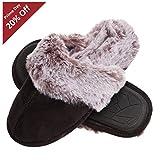 Jessica Simpson Comfy Faux Fur Womens House Slipper Scuff Memory Foam Slip On Anti-Skid Sole (Size Medium, Black)