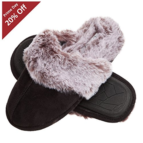 Jessica Simpson Comfy Faux Fur Womens House Slipper Scuff Memory Foam Slip On Anti-Skid Sole (Size Medium, Black)