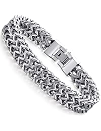 FIBO STEEL Stainless Steel 12MM Two-strand Wheat Chain...