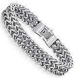 stainless steel bracelet men - FIBO STEEL Stainless Steel 12MM Two-strand Wheat Chain Bracelet for Men Punk Biker Bracelet,8.0-9.1 inches (A:Silver-Tone 8.0 inches)