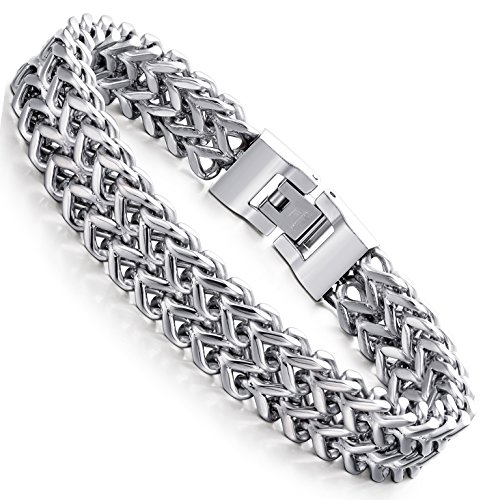 FIBO STEEL Stainless Steel 12MM Two-strand Wheat Chain Bracelet for Men Punk Biker Bracelet,8.0 inches